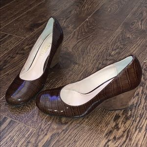 Franco Sarto LEATHER wedges 5.5  *Worn once*